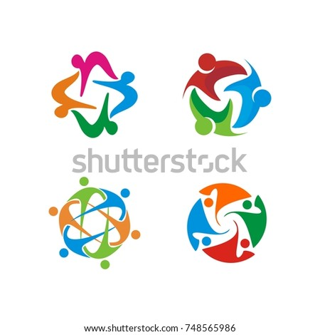 Circular support, care, community theme abstract human figure design template vector