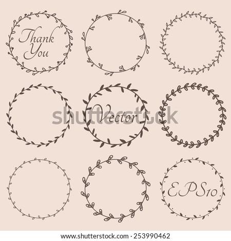 Circular vintage floral hand drawn frames. Vector eps10. - stock vector