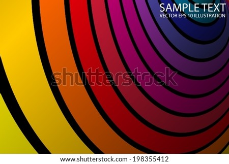 Circular wave rainbow colorful template - Color curvatures  abstract background illustration - stock vector