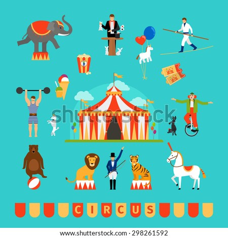 Circus and fun fair elements in modern flat style - stock vector