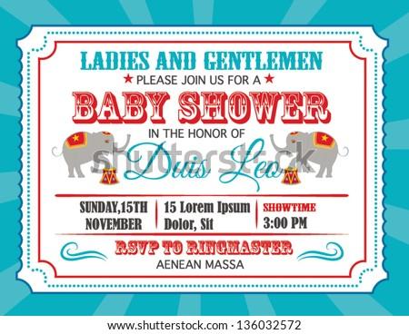 Retro Baby Shower Invitation Card Vector Stock Vector 170318189