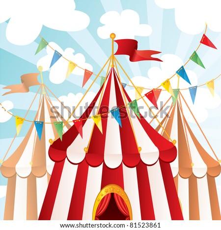 Circus background, vector - stock vector