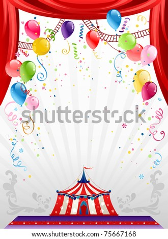 Circus background with balloons with space for text - stock vector