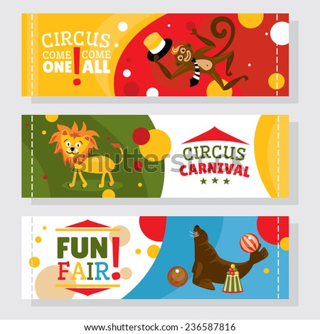 Circus banners with animals vector illustration  - stock vector