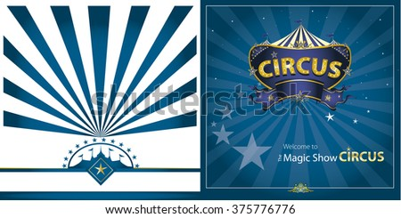 circus Blue greeting card. You can see the front and the back of this card - stock vector