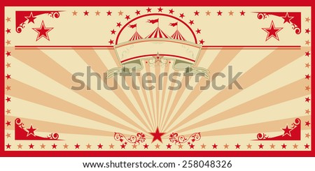 Circus card red vintage. An invitation card for your circus company. - stock vector