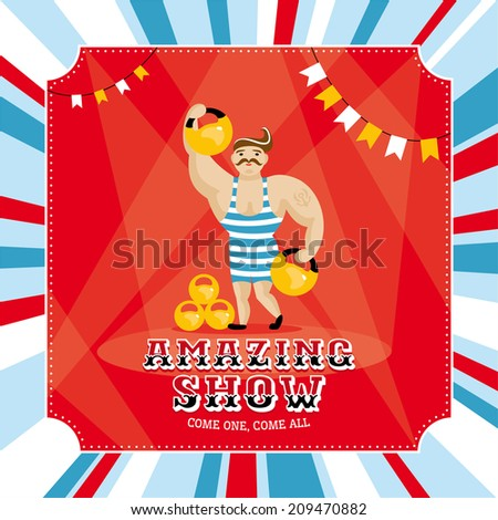 Circus card with strongman vector illustration - stock vector