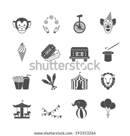 Circus carnival amusement park icon set of clown balloons tent isolated vector illustration - stock vector