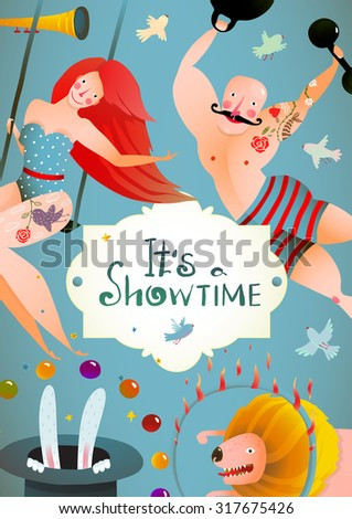 Circus Carnival Show Vintage Billboard Poster with Girl and Strong Man. Fun and cute quirky performance vintage drawing cartoon card. Vector illustration. - stock vector