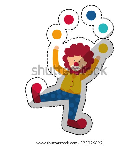 Circus clown cartoon icon vector illustration graphic design