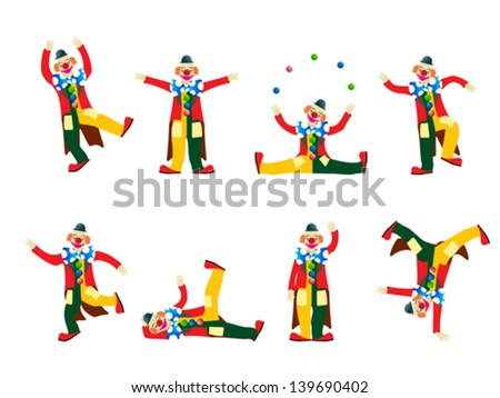 Circus clown collection, isolated objects on white background - stock vector