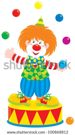 Circus clown juggler - stock vector