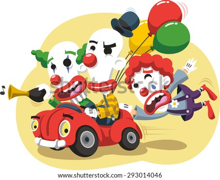 Circus Clown Performance in Car with balloons and horn vector cartoon illustration - stock vector