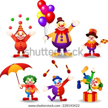 circus clown set cartoon vector illustrations - stock vector