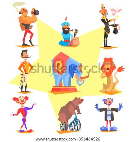 Circus collection with carnival, fun fair, vector icons illustration - stock vector