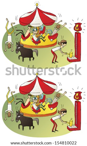 Circus Differences Visual Game. Task: find 10 differences! Solution in hidden layer (vector file only). Illustration is in eps8 vector mode! - stock vector