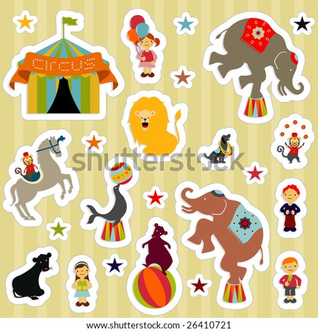 Circus elements like elephants, horse, lion, seal, dog, bear, monkey and boys and girls - stock vector