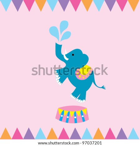Circus Elephant - stock vector