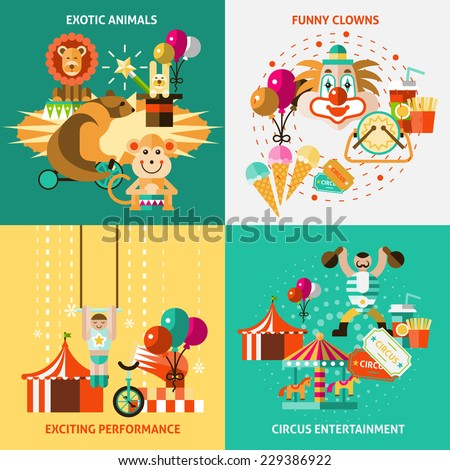 Circus entertainment flat icons set with exotic animals funny clowns exciting performance isolated vector illustration - stock vector