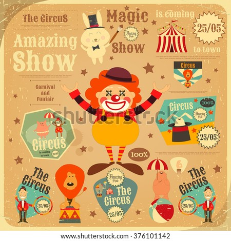 Circus Entertainment Poster in Vintage Style. Cartoon Style. Circus Animals and Characters. Vector Illustration. - stock vector