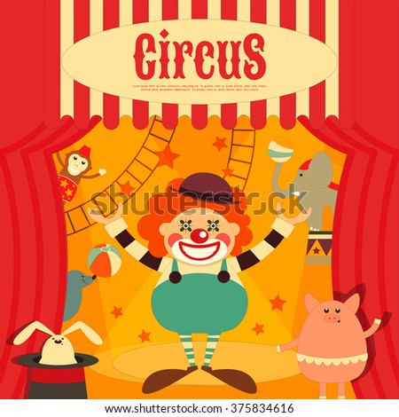Circus Entertainment Poster Retro. Cartoon Style. Circus Animals and Characters. Vector Illustration. - stock vector