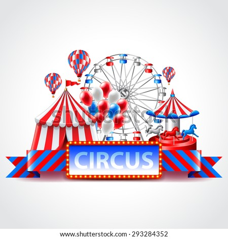 Circus fun fair and carnival photo realistic vector background - stock vector