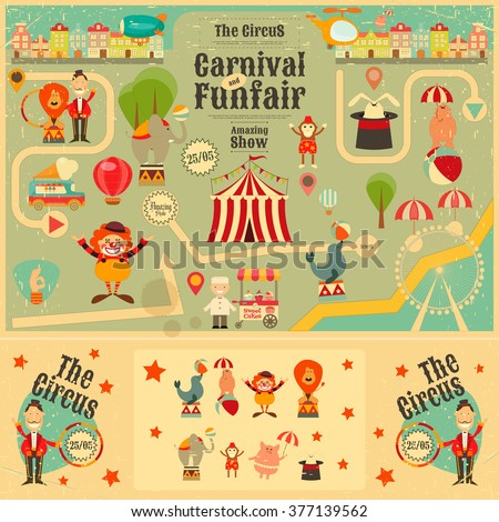 Circus Funfair and Carnival Poster in Vintage Style. Cartoon Style. Circus Animals and Characters. Vector Illustration. - stock vector