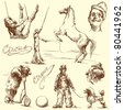 circus - hand drawn set - stock photo