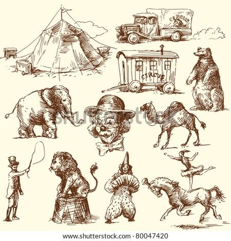 circus - hand drawn set - stock vector