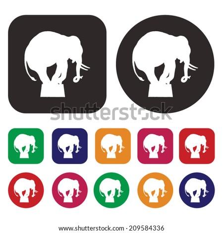 Circus icons / Elephant icon - stock vector