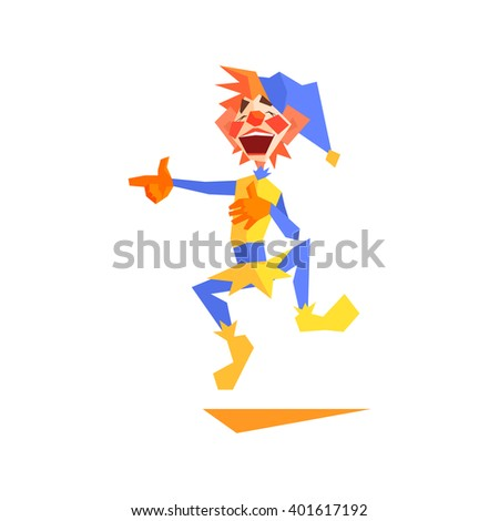 Circus Mocking Clown Performing Graphic Flat Vector Design Isolated Illustration On White Background