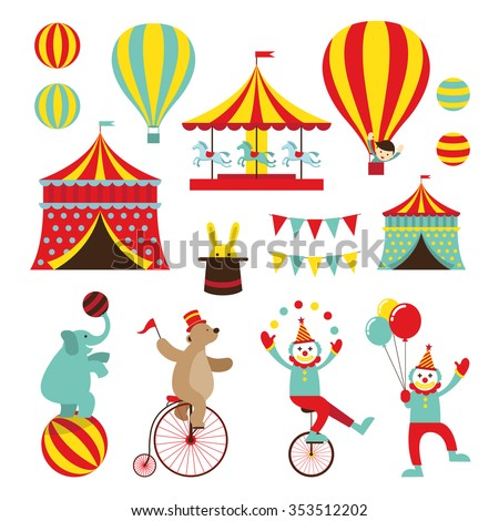 Circus Objects Flat Icons Set, Amusement Park, Theme Park, Carnival, Fun Fair - stock vector