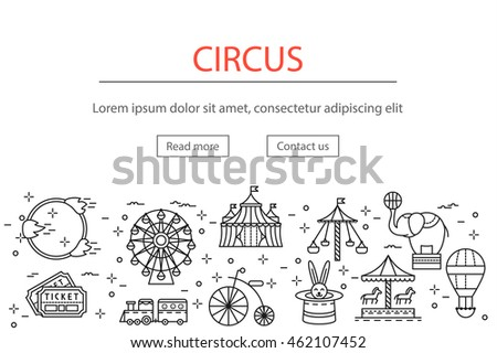 Circus or amusement park horizontal banner with linear icons set, vector illustration. Modern show template of thin line logo, signs, symbols, pictograms