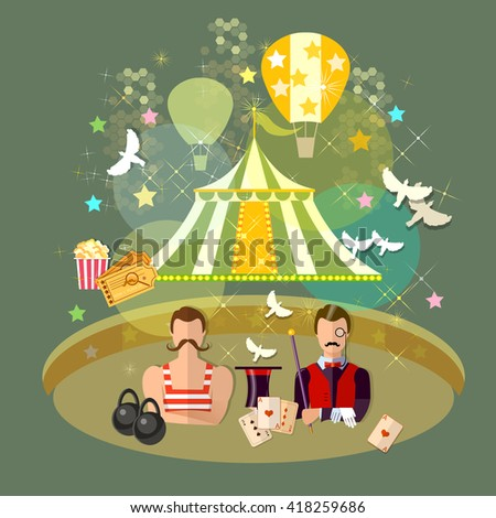 Circus performance circus show magician strongman magician magic tricks circus show circus arena vector illustration - stock vector
