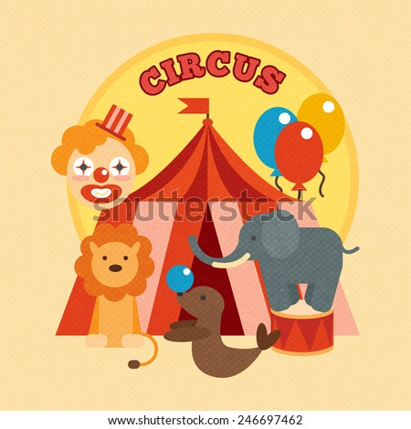 Circus performance poster with tent clown and lion elephant sealion animals flat vector illustration