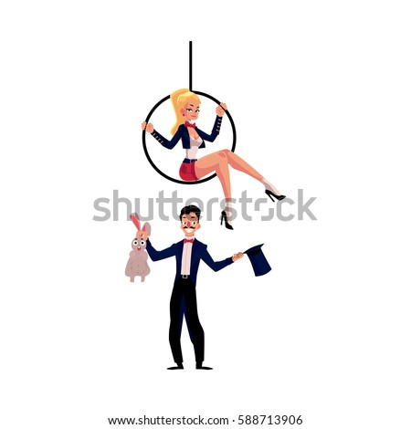 Circus performers - magician conjuring rabbit out of hat and acrobat sitting on aerial hoop, cartoon vector illustration isolated on white background. Magician and acrobat circus performers