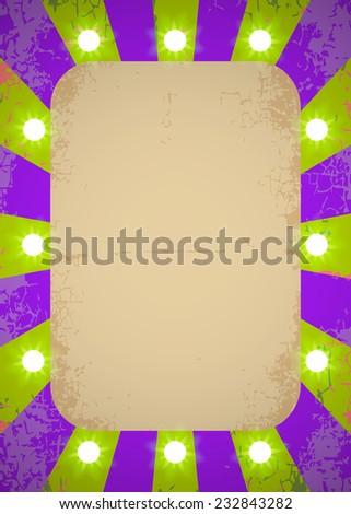 Circus poster with bright lights - stock vector