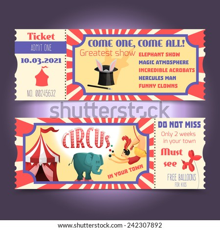 Circus retro tickets with animals acrobats magic hat isolated vector illustration - stock vector