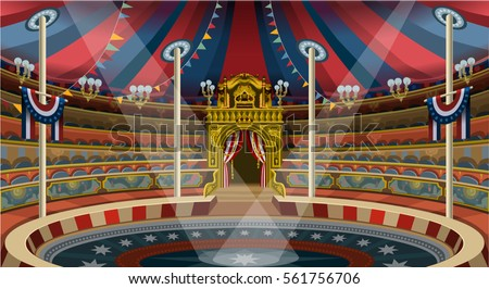 Circus ring carnival tent big top acrobat trapeze marquee. Amusement family theme park circus banner poster invite set. Creative circus big top people design vector illustration collection