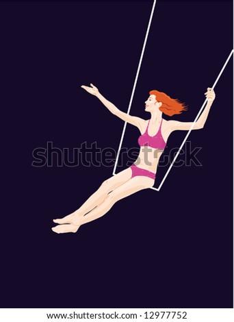 Circus series: trapeze - stock vector