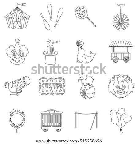 Circus set icons in outline style. Big collection of circus vector symbol stock illustration
