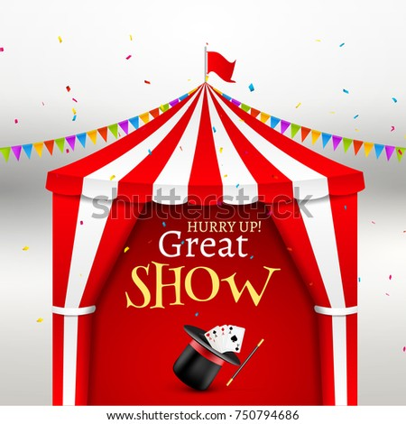 Circus show event poster. Circus tent vector illustration for carnival amusement with flag. Festival  sc 1 st  Shutterstock & Retro Signboard Circus Tent Vector Retro Stock Vector 323842337 ...