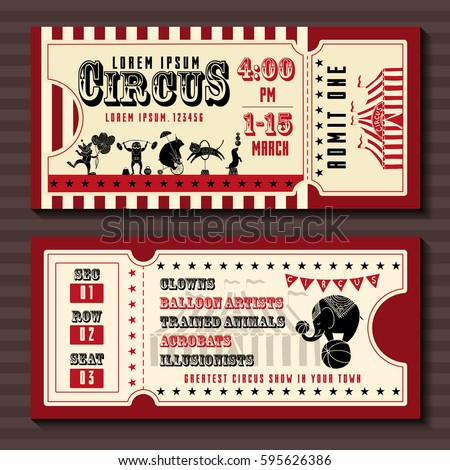 Circus Ticket Images RoyaltyFree Images Vectors – Sample of Tickets Templates