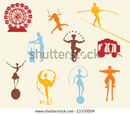 CIRCUS SILHOUETTES. Graphic elements and entertainment icons. Can be use as stickers, labels, prints etc. Editable vector illustration file. - stock vector