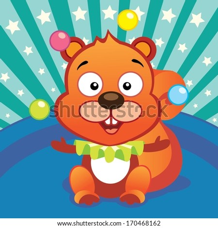 Circus squirrel clown - stock vector