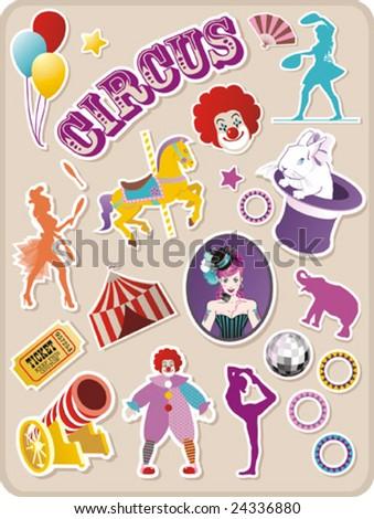 Circus stickers - stock vector