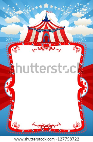Circus tent background with space for text - stock vector