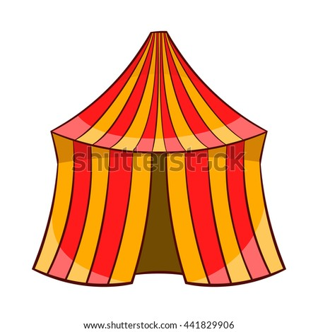 Circus tent icon in cartoon style on a white background - stock vector