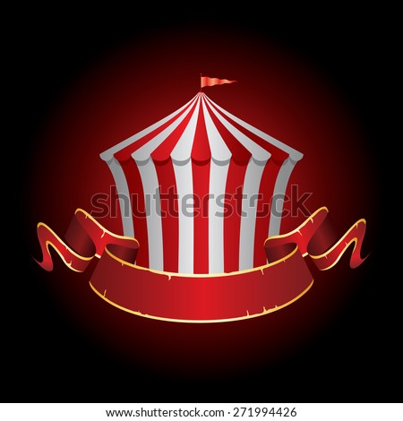 circus tent icon with grunge banner - stock vector