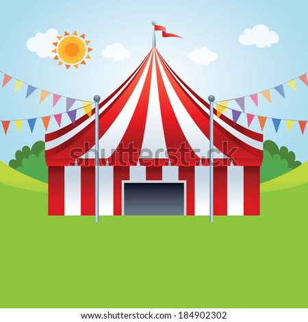 Circus tent. Vector illustration of a stylized circus tents on the meadow. - stock vector